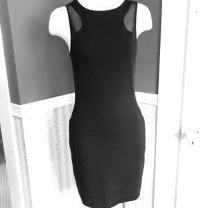 Express Black Mesh Ponte Knit Fitted Dress